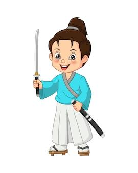 Menino samurai japonês de desenho animado com espada