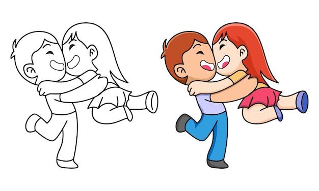Menino segurando a namorada para colorir para crianças