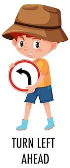 Menino segurando a placa de trânsito isolada