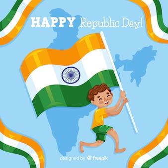 Menino, segurando, bandeira, índia, independência, dia, fundo