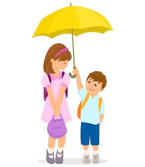 Menino, segurando, guarda-chuva, protegendo, dela, amigo