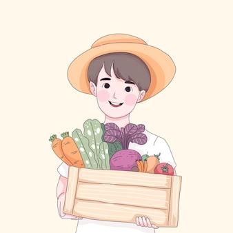 Menino segurando ilustração de vegetais e frutas