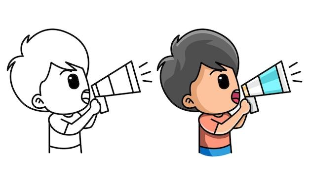 Menino segurando um alto-falante megafone gritando e anunciando uma página para colorir para crianças