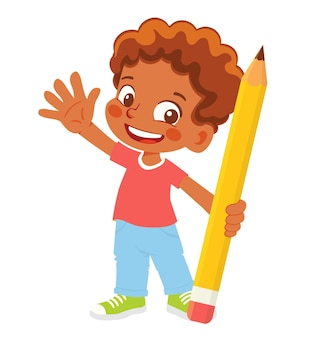Menino segurando um clipart de lápis