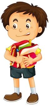 Menino segurando uma bolsa escolar