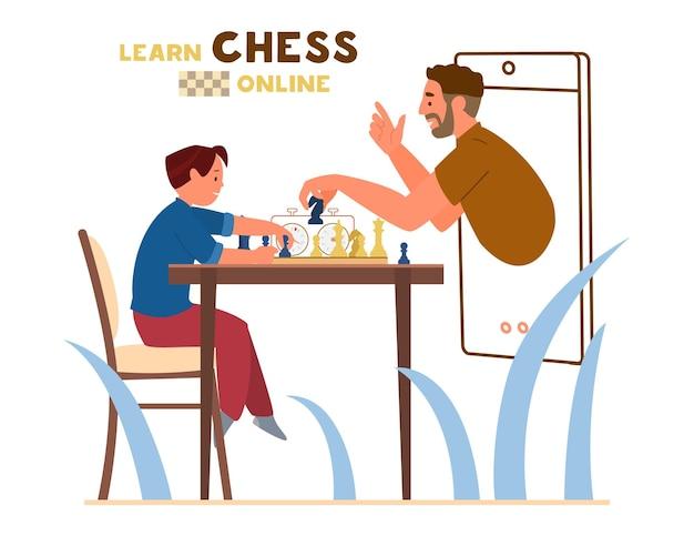 Menino sentado à mesa com tabuleiro de xadrez e cronômetro de xadrez Vetor Premium