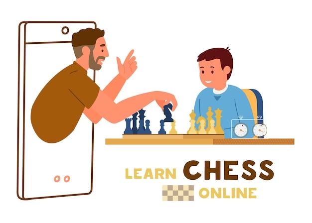 Menino sentado à mesa com tabuleiro de xadrez e cronômetro de xadrez