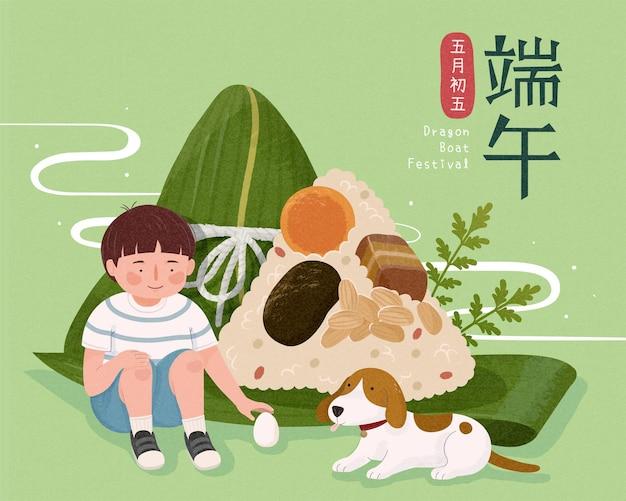 Menino sentado ao lado de bolinhos de arroz, festival do barco do dragão e 5 de maio escritos em caracteres chineses