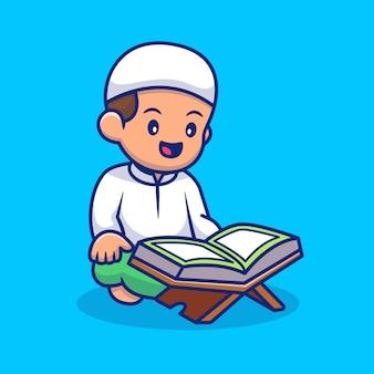 Menino sentado e lendo o alcorão dos desenhos animados ícone ilustração pessoas relgion ícone conceito isolado. estilo flat cartoon