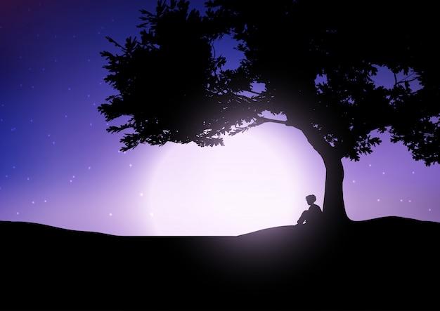 Menino, sentando, contra, um, árvore, contra, um, céu noite