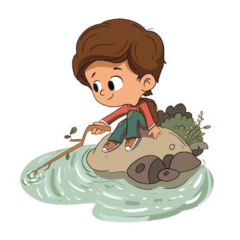 Menino, tocando, com, água, em, um, rio