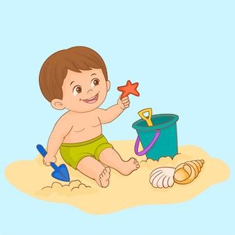 Menino, tocando, com, praia, brinquedos