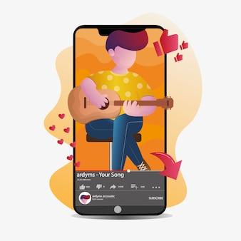 Menino tocando guitarra na transmissão ao vivo com ilustração de smartphone