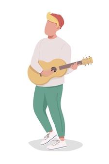 Menino tocando guitarra personagem de vetor de cor semi-plana