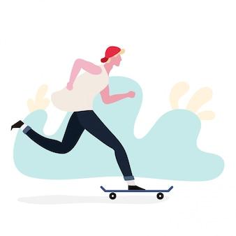 Menino, tocando, skateboard
