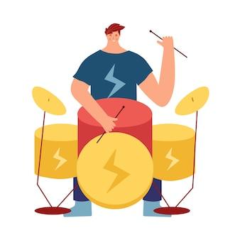 Menino tocando um instrumento musical. um homem toca rock na bateria.