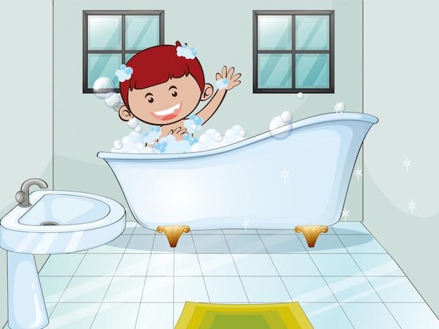 Menino tomando banho de espuma