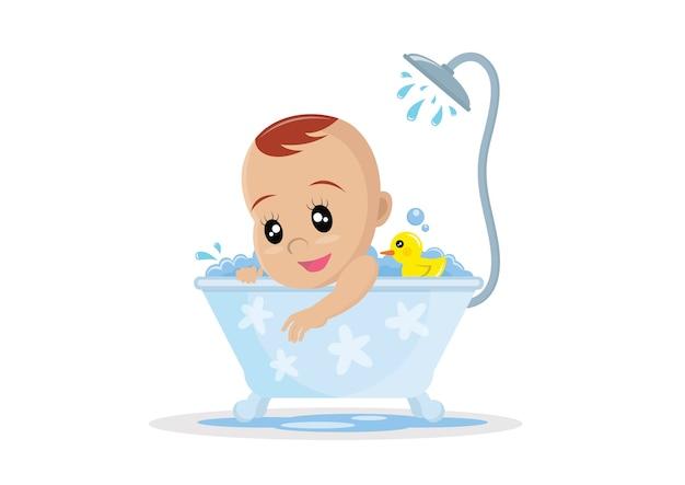 Menino tomando banho.