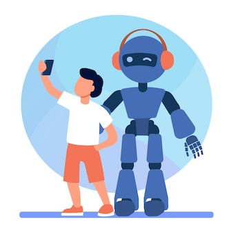 Menino tomando selfie com humanóide. criança com ciborgue, criança com ilustração em vetor plana robô. robótica, engenharia, infância