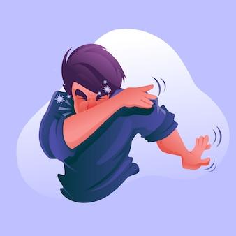 Menino tosse na ilustração de braço e cotovelo