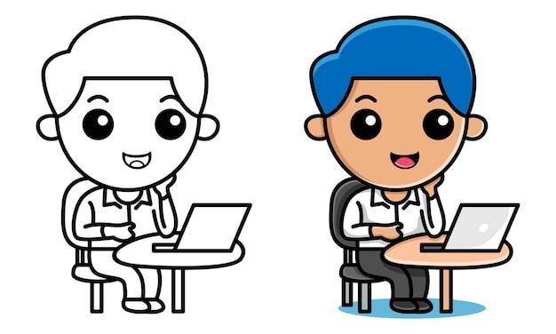 Menino trabalhando na página para colorir de laptop para crianças