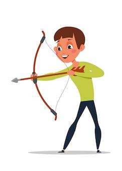 Menino travesso atirando com arco e flecha