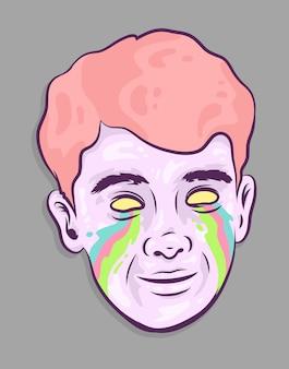 Menino triste chorando ilustração vetorial de arco-íris