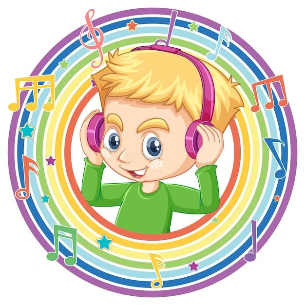 Menino usando fone de ouvido em moldura redonda de arco-íris com símbolos de melodia