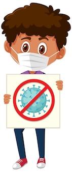 Menino usando máscara e segurando a placa de pare o coronavírus