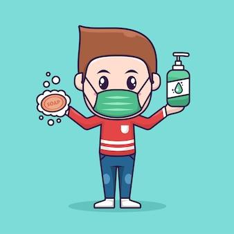 Menino usar máscara facial segurando sabão e frasco de líquido