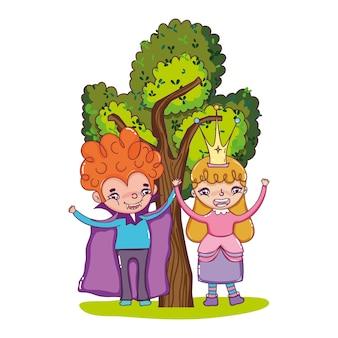 Menino, vampiro, e, menina, rainha, com, árvore