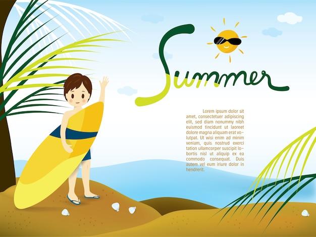 Menino verão, praia