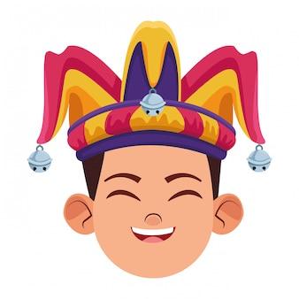 Menino vestindo avatar de chapéu de bobo da corte