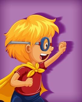 Menino vestindo um super-herói com uma posição de estrangulamento. retrato de personagem de desenho animado isolado