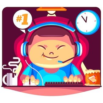Menino viciado em jogos online de ilustração de desenho animado
