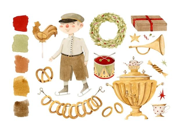 Menino vintage de natal russo com brinquedos de samovar e conjunto de elementos em aquarela de grinalda