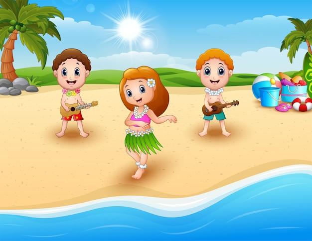 Menino, violão jogo, e, hawaiian, menina, dança hula