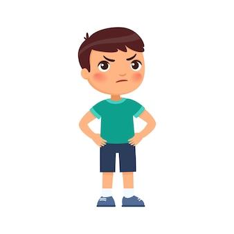 Menino zangado com as mãos nos quadris transtorno de conduta psicologia infantil personagem de desenho animado bonito