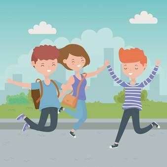 Meninos adolescente e menina dos desenhos animados