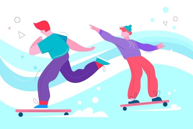 Meninos adolescentes andando de skate