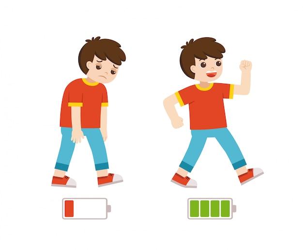 Meninos ativos e cansados plana ilustração colorida dos desenhos animados. garoto feliz e infeliz. menino enérgico e cansado ou exausto e energia vital.