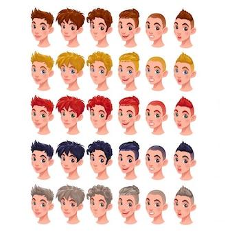 Meninos avatar vector isolado itens 6 penteados em 5 cores 6 bocas diferentes e 5 cores de olhos no arquivo do vetor você pode facilmente misturar todos esses itens