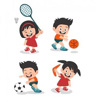 Meninos bonitos e menina feliz jogando esporte pacote de design de personagens