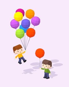 Meninos, com, a, colorido, balões