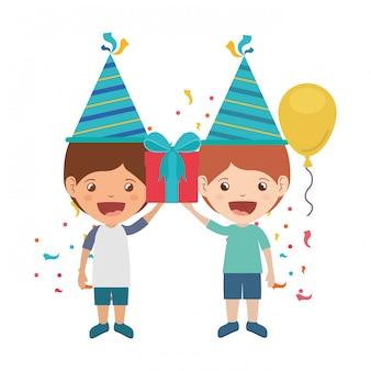 Meninos, com, chapéu partido, em, aniversário, celebração