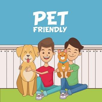 Meninos com desenhos animados de animais de estimação