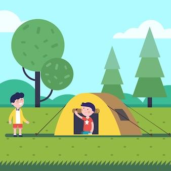 Meninos com uma boa caminhada dormem com uma pequena barraca