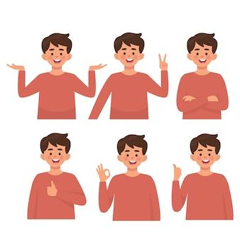 Meninos com várias poses, defina vetor