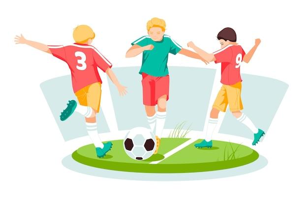 Meninos, crianças jogando futebol com bola no campo de verão