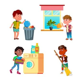 Meninos, crianças, limpando e fazendo trabalho doméstico, conjunto de vetores
